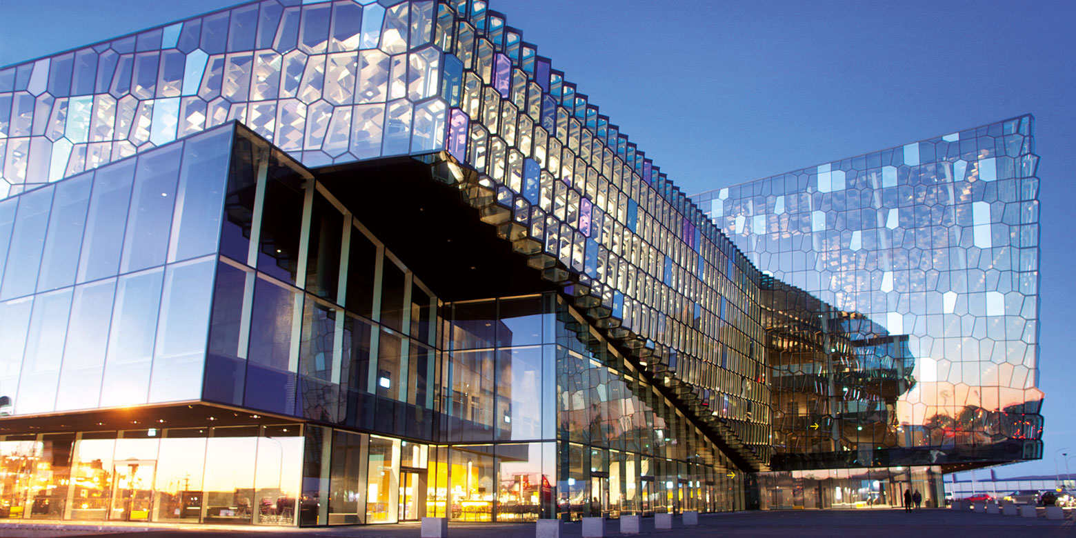 """""Harpa"" Reykjavik: Dichroic glass in the facade designed by Olafur Eliasson"