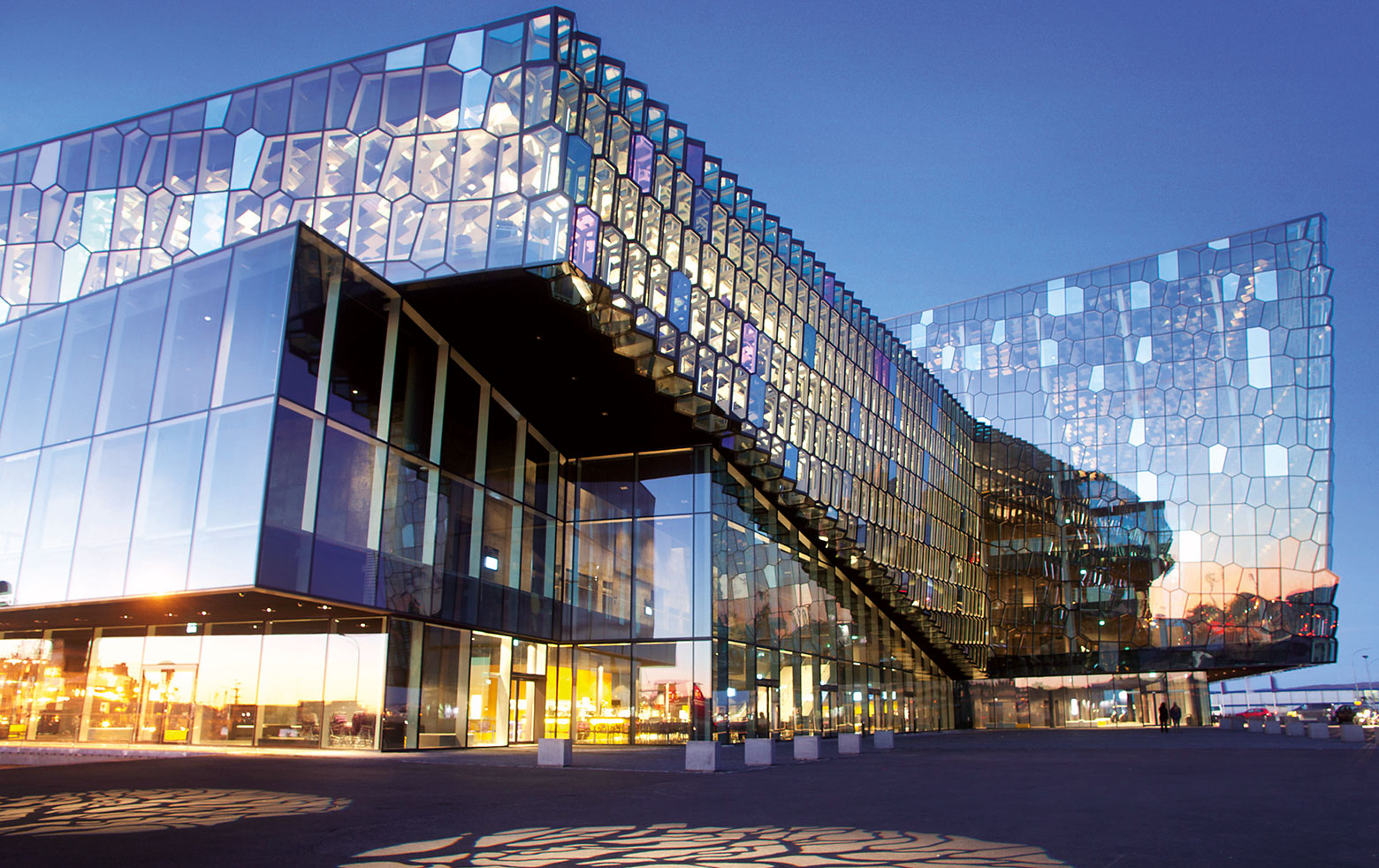 Dichroic glass is accentuating the HARPA facade